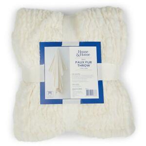 House & Home Rabbit Faux Fur Throw - White