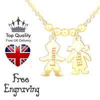 Personalised Engraved Necklace Jewellery Children/Child Family Name Gold Plated