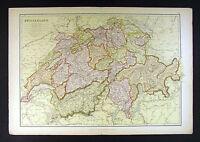 1882 Blackie Atlas Map - Switzerland - Geneva Lucern Zurich Berne Swiss Alps