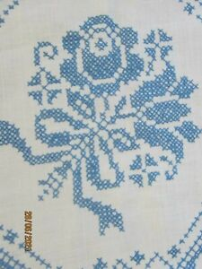 Vtg. Embroidered Cross Stitch Tablecloth 46 x 64 White - blue cross stitch