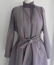 Vtg Concept A-Line Coat Lavender Mid-Calf Size M/L Zip out Liner Belted