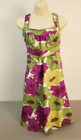LONDON TIMES Womens Dress Sz 8 Sleeveless Floral Pattern Purple Green White