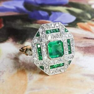2Ct Green Emerald&Diamond Vintage Art Deco Engagement Ring 14K Yellow Gold Over