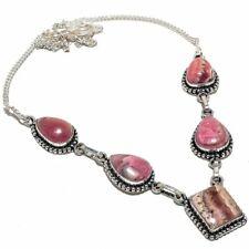 "Rhodochrosite Gemstone Handmade Silver Fashion Jewelry Necklace 18"" SN1624"