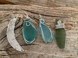 Four Pieces Wire Wrapped Seaglass Pendants Silver boho Beach Necklace Aluminum