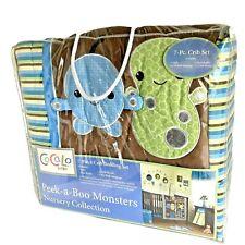 Cocalo Baby Peek-A-Boo Monsters 7 Piece Crib Nursery Bedding Set 2 Crib Sheets