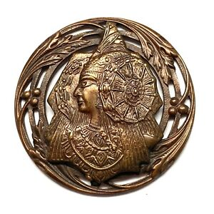 Antique Button ~ Wonderful Large Metal Egyptian Princess w Elaborate Headdress