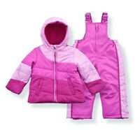 Arctic Quest Girl's Color Block Puffer Jacket and Ski Bib Snowsuit Set  Size 4