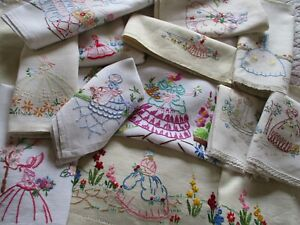 Bundle of 12 Vintage Hand Embroidered Crinoline Lady Linens-Some Minor Defects