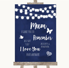 Wedding Sign Navy Blue Watercolour Lights I Love You Message For Mum