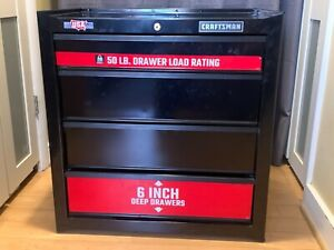 Craftsman 4 Drawer Tool Box in Black with Red Trim - Pre Owned