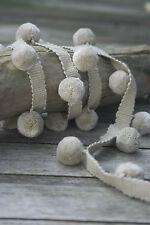 Pom pom trim, beige colour 100% cotton for curtains and cushions