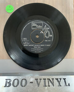 "DIANA ROSS,  SORRY DOESNT ALWAYS MAKE IT RIGHT-7"" TAMLA MOTOWN 1975  EX CON"