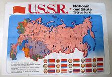 U.S.S.R. National & State Structure Map Novosti Press Agency Moscow 1975 Vintage