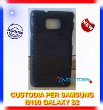 Custodia+Pellicola BACK COVER PAJETTE NERA per Samsung I9100 galaxy s2 I9105
