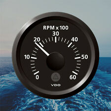 "VDO Viewline Tachometer Marine Boat Gauge 6000 RPM 52mm 2"" Black A2C59512323"