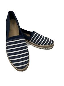 COLLECTION CLARKS Womens Blue White Striped Suede Slip On Shoes 8.5 Serena Paige