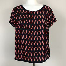 NEW Francesca's Buttons Small Blouse Navy Orange Short Sleeve Top