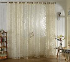 Beige Jacquard Big Flower Tulle Window Curtain Eyelet Sheer Valance 1x2.5M
