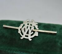 Vintage Sterling silver Brooch pin Art deco CWC Hand engraved initials #P920
