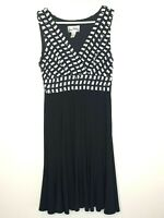 Joseph Ribkoff Black White Sleeveless Fit & Flare Office Party Dress Size 10