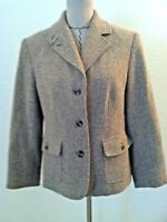 LL Bean womens blazer brown beige tweed wool blend size M
