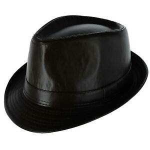 New Westend Men's Faux Leather Trilby Fedora Hat