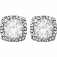 White Sapphire Lab Created Round Gems & Real Diamonds Studs 925 Sterling Silver