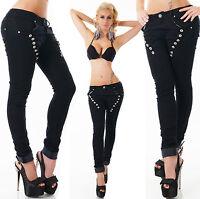 Sexy Women's Denim Black Jeans Boyfriend Harem Baggy Pants Buttons UK 6-14