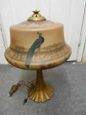 ANTIQUE PAINTED REVERSE GLASS  PEACOCK LAMP