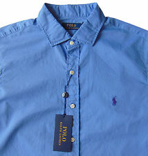 Men's POLO RALPH LAUREN Harbor Island Blue Soft Cotton Shirt 2XB BIG NWT NEW