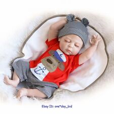 "22"" Lifelike Reborn Doll Boy Vinyl Handmade Baby w Pacifier full Body Silicone"