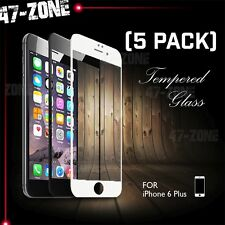 "For iPhone 6 6S Plus 5.5"" FULL COVER Temper Glass Screen Protector Black 5PC"