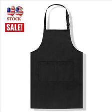 Long Apron w/ Pocket Men Women Home Kitchen Chef Butchers Cooking Bib Aprons Us