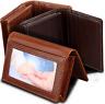 Men's Genuine Leather Bifold Money Clip ID Credit Card Holder Wallet Brown