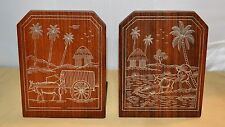 Tropical Asian Carribean South Sea Metal Inlay Bookends w/ Villagers at Work