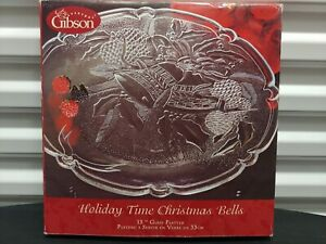 """Gibson Everyday Holiday Time Christmas Bells 13"""" Glass Serving Platter"""