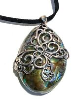 SIGNED STERLING SILVER AND ABALONE ARTISAN BUTTERFLY PENDANT NECKLACE