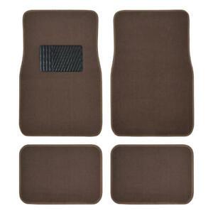 Dark Beige Car Floor Mats Liner Pads Utility Mat Standard Fit 4pc Auto Brown