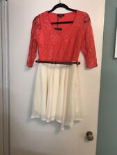 ASOS PAPRIKA CORAL LACE & IVORY COLOR BLOCK DRESS SIZE 6