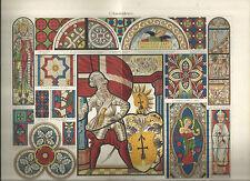 STAMPA ORIGINALE _MEYERS_GLASMALEREI_VETRATE_BIBLIOGRAPHISCHES INSTITUT_1890