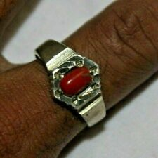 WOMEN / LADY RINGS WITH HAND CRAFTED SILVER WITH GEMSTONE CORAL R 28