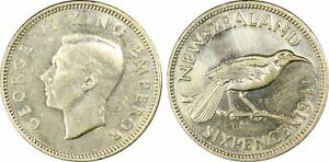 NEW ZEALAND -BEAUTIFUL SILVER 6 PENCE,1941 (BEST DATE), PCGS AUTHENTICATED, KM#8