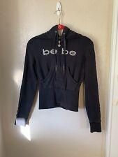 Bebe Black Bling Hoodie Small Rhinestone Logo