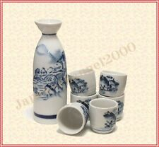 Sale New SAKE 1 Bottle 6 Cup SET Tokkuri Sakazuki Porcelain Ceramics Mino Yaki D