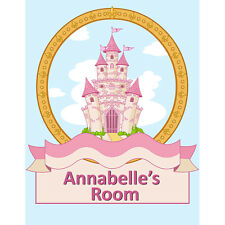 Girls Personalised Princess Castle Bedroom Door Sign