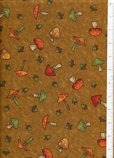 debbie mumm ~ FALL FOREST POLKA DOT MUSHROOM ~ acorn autumn fabric brown mustard