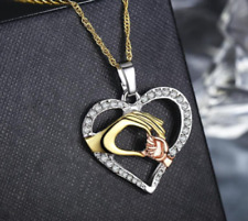 Love Heart Mom Charm Pendant & Chain Necklace Silver Gold Mum Mother's Day Gift
