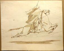 Orientalisme Lavis d'encre XIXe Cavalier Oriental Chevaux Croquis Dessin