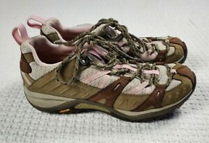 Merrell 8.5 Vibram Hiking Shoes Brown Pink Lace Up Air Cushion Gel
